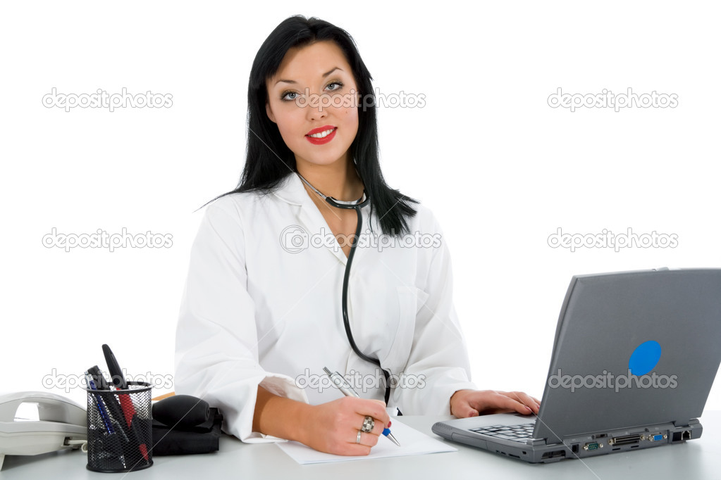 Young doctor with stethoscope on white background — Stock Photo #1360280