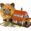 Miniature house with dollars isolated — Stock Photo