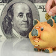 Piggy bank  on big dollar background — Foto Stock