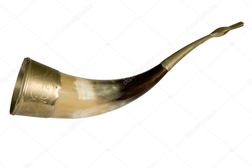 Drinking horn with brass accents. isolated on white  Photo #1372311