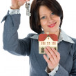 Business woman advertises real estate - Stock Photo