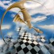 Stock Photo: Chess composition on background