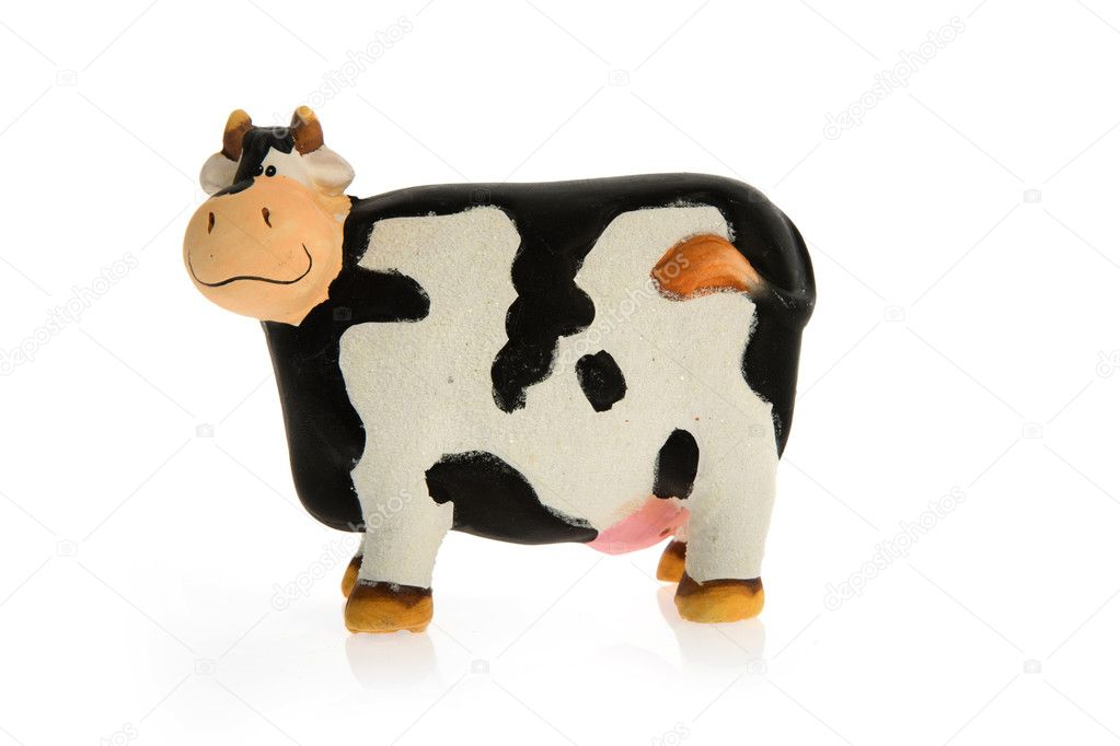Crazy toy cow on white background — Stock Photo #1442088