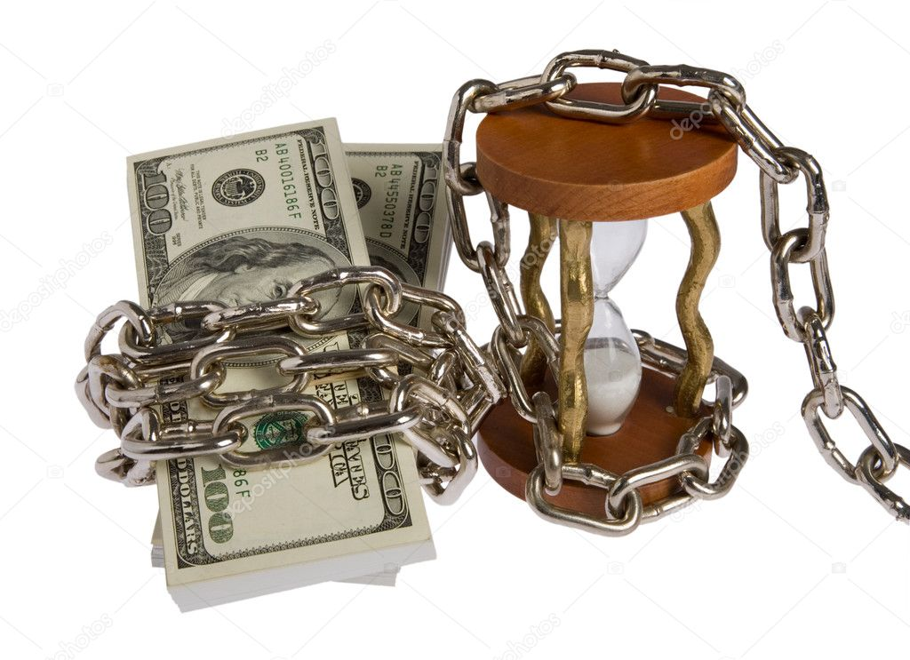 Dollars with chain on white background  Stock Photo #1446625