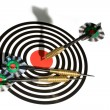 Target with arrows on white — Stock Photo