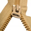 Unzipped brown zipper — Stock Photo