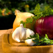 Still life with onion — Stock Photo