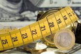 Pièces de monnaie avec le mètre — Photo