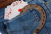 Carte in jeans tasche — Foto Stock