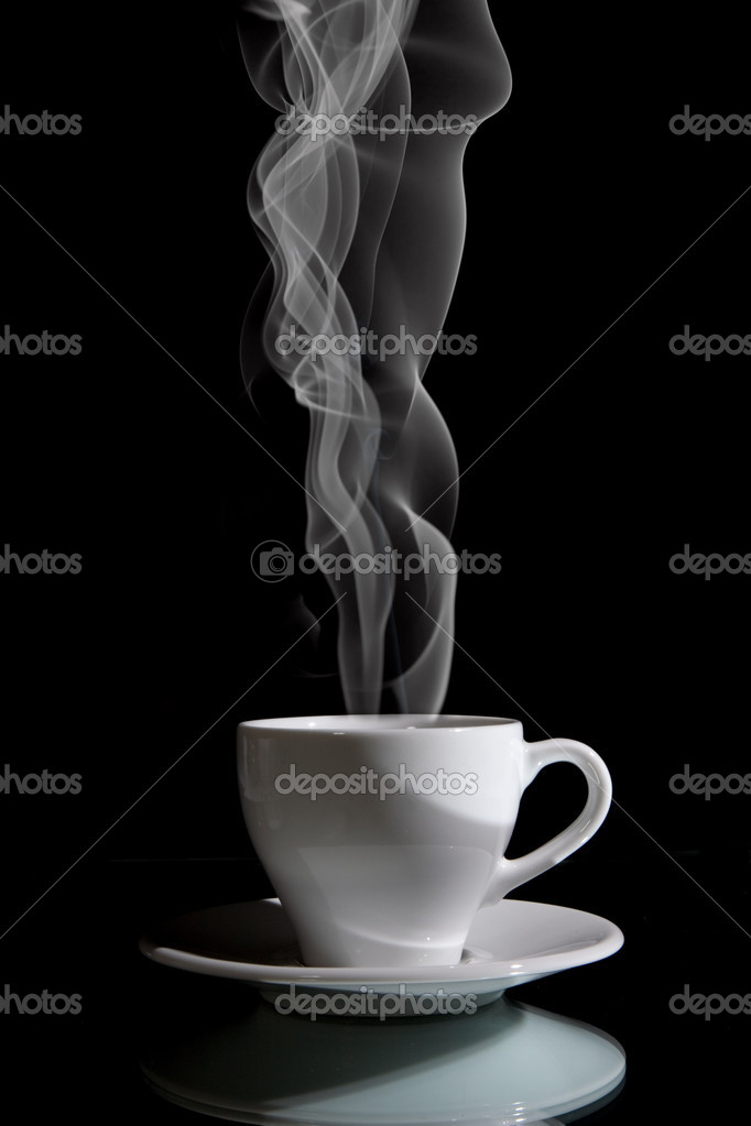 Cup of black coffee on the black background — Stock Photo #1561665