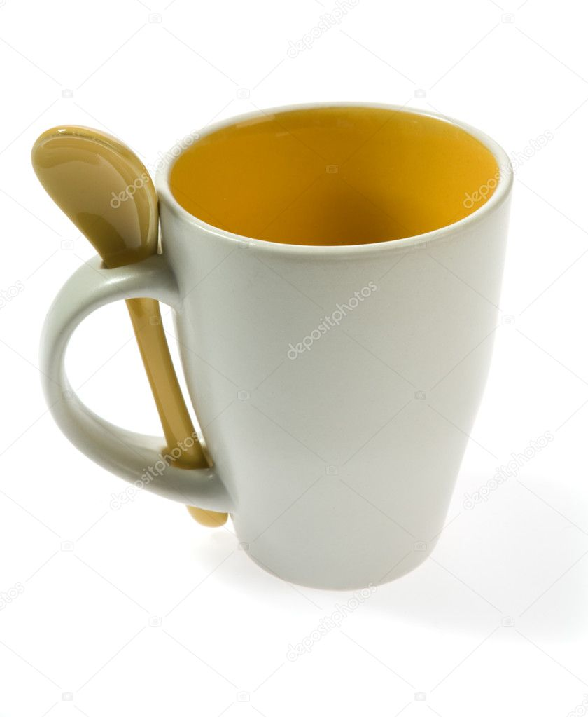 Origina l mug with  spoon  isolated on white — Stock Photo #1568887