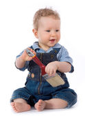 Beautiful baby with paint brush — Stock Photo