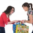 Expressive girls shopping — Stock Photo