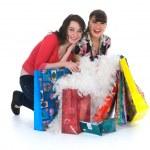 Expressive girls shopping — Stock Photo #1590322