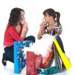 Expressive girls shopping — Foto de Stock