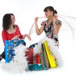 Expressive girls shopping — Stock Photo #1590334