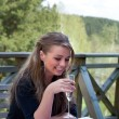 Young girl with glass of champagne — Stock Photo #1608881