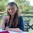 Young girl with glass of champagne — Stock Photo #1609024