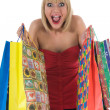 Expressive woman shopping - Stock Photo