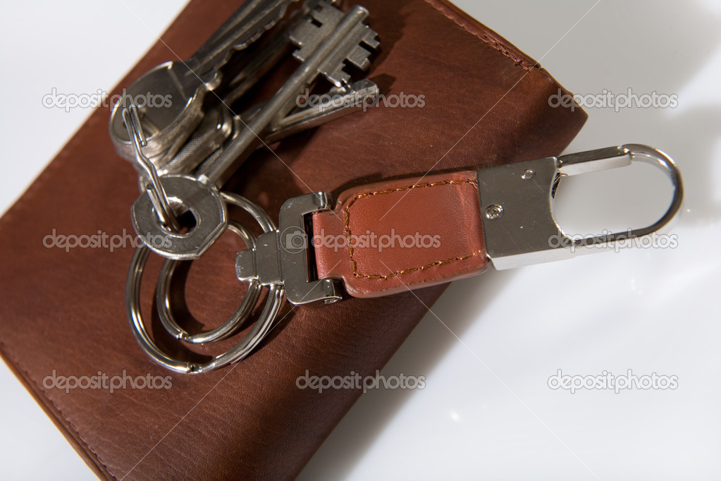 Bunch of keys on brown leather wallet  Stock Photo #1647556