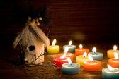 Decoración de la navidad en luz de caramelo — Foto de Stock
