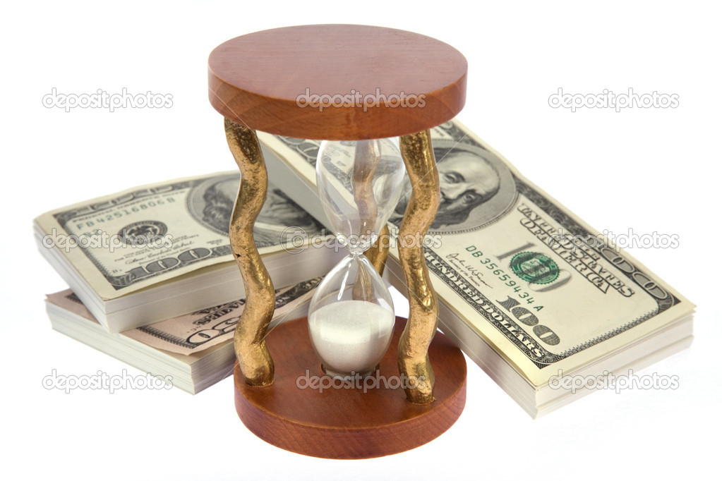 Dollar and hourglass on white background — Stock Photo #1695019
