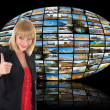 Stock Photo: Television, communication and travel