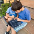 Two cute boy study on computer — Stock Photo