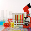 Laboratory ware and microscope - Stock Photo