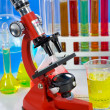 Laboratory ware and microscope — Stock Photo #1970745