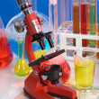 Laboratory ware and microscope — Stock Photo