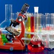 Laboratory ware and microscope — Stock Photo #1971864