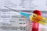 Close up of syringe with test tube — Stock Photo