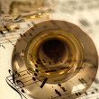 Stock Photo: Trumpet mix of musical notes
