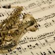 Saxophone mix of musical  notes - Stock Photo
