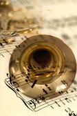 Trumpet mix of musical notes — Stock Photo