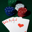 Royal flush of spades  and chips — Stock Photo