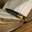 Old  poetry book and a fountain pen — Stockfoto
