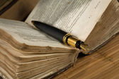 Old poetry book and a fountain pen — Stock Photo