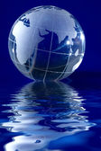 Blue globe with backlit light — Stock Photo