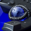Glass globe with phone — Stock Photo