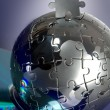 Globe puzzle with CD — Stock Photo