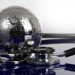 Globe puzzle on blue background. — Stock Photo