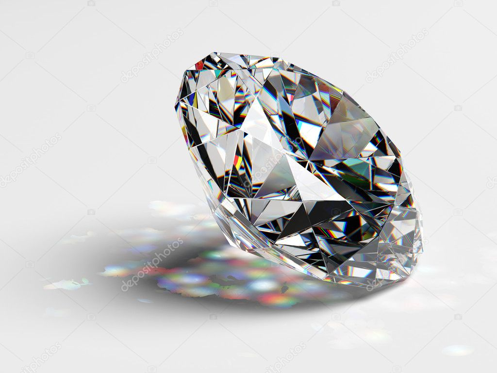 Diamond jewel with caustics on white background — Stock Photo #1789067