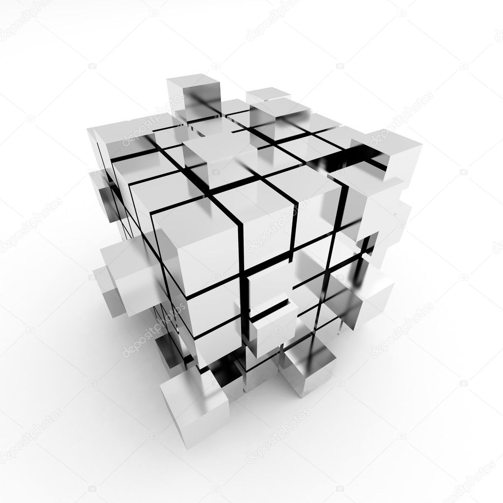 Abstract cube construction on a white background  Photo #2626112