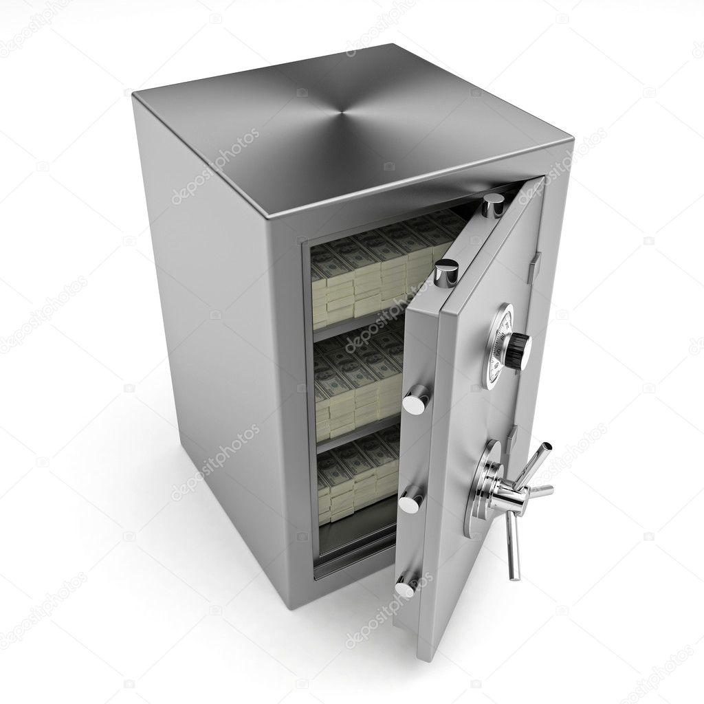 Bank safe. 3d illustration of open steel safe with money. — Stock Photo #2626168