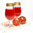 Christmas still life - glasses with wine — Stock Photo