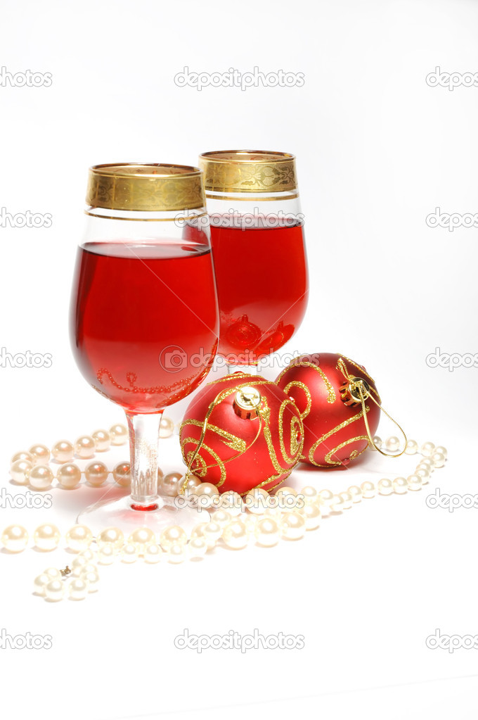 Christmas still life - glasses with red wine  Stock Photo #1075378