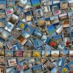 pozadí s cesty filmové pásy — Stock fotografie