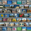 Background with travel filmstrips — Stock Photo